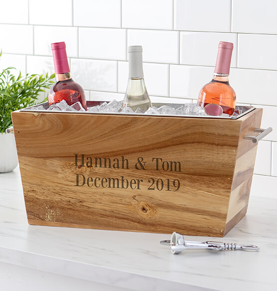 Personalized Acacia Beverage Trough - View 3