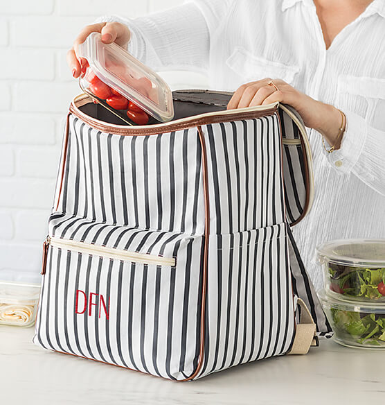 Personalized Striped Backpack Cooler - View 2
