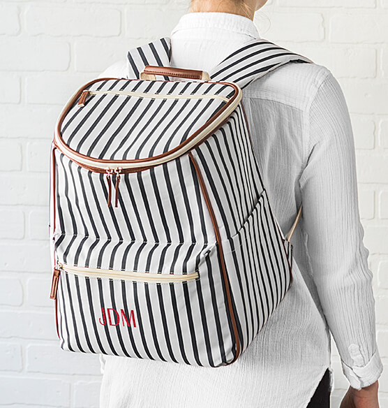 Personalized Striped Backpack Cooler - View 3