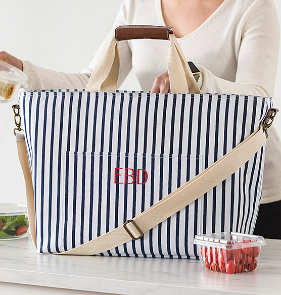 Personalized Striped Large Cooler Tote - View 2