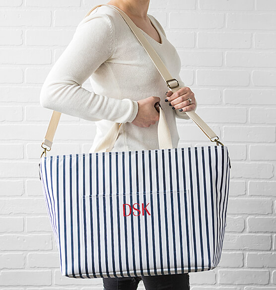Personalized Striped Large Cooler Tote - View 3