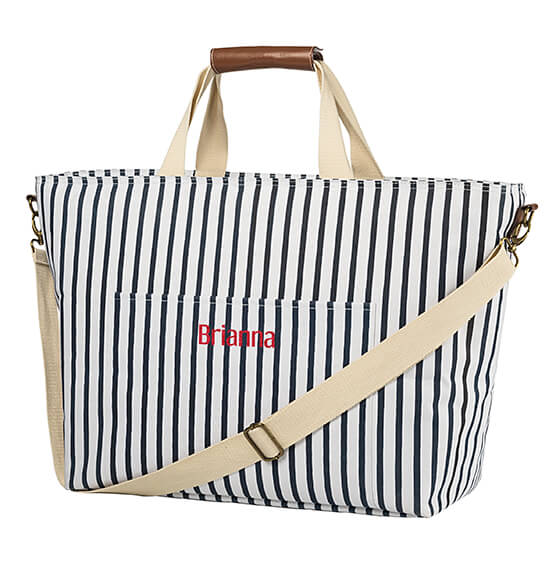Personalized Striped Large Cooler Tote - View 5