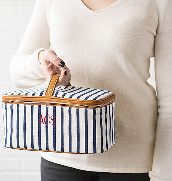 Personalized Striped Cosmetic Case - View 2