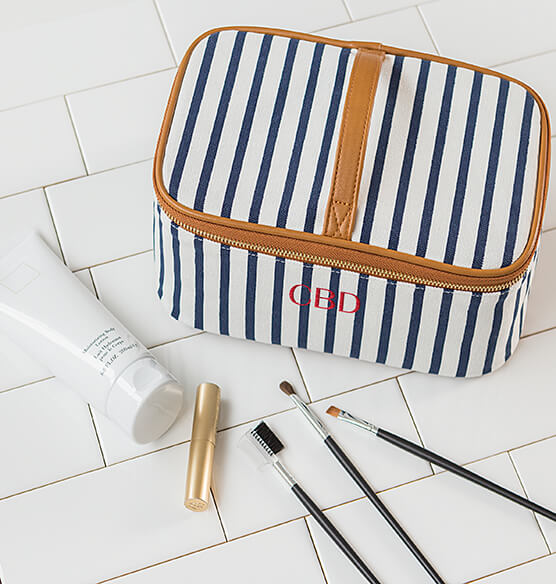 Personalized Striped Cosmetic Case - View 3