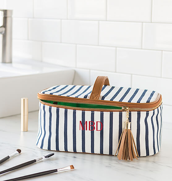 Personalized Striped Cosmetic Case - View 4