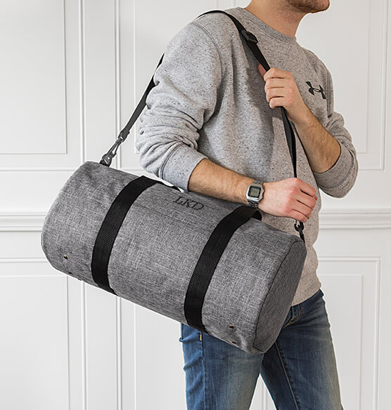 Personalized Grey Duffle Bag - View 2