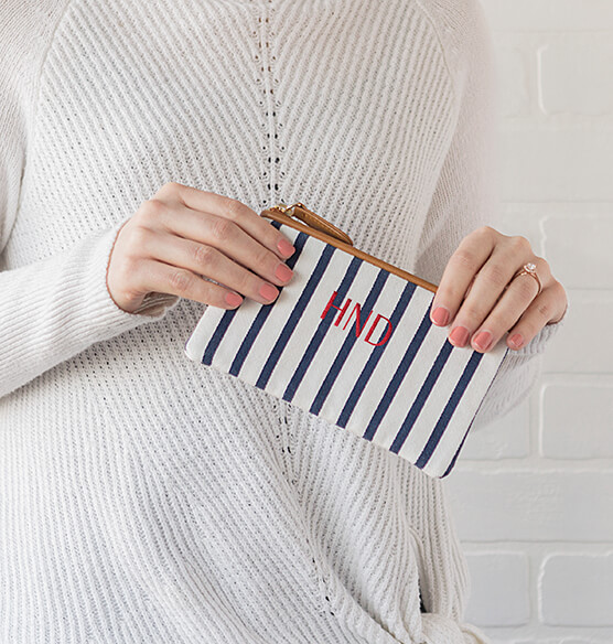 Personalized Striped Clutch Set - View 2