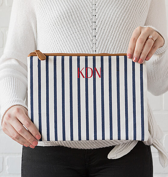 Personalized Striped Clutch Set - View 3