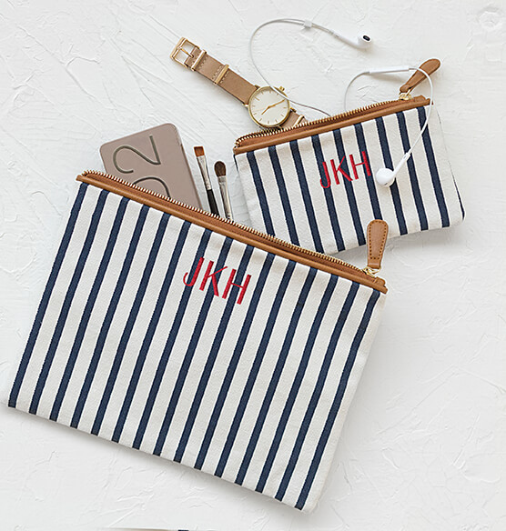 Personalized Striped Clutch Set - View 4
