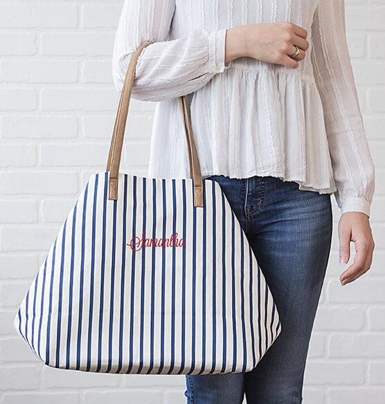 Personalized Striped Overnight Tote - View 2