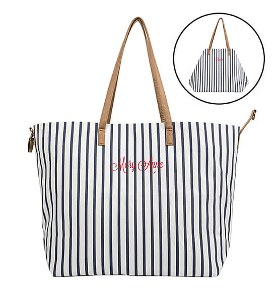 Personalized Striped Overnight Tote - View 3