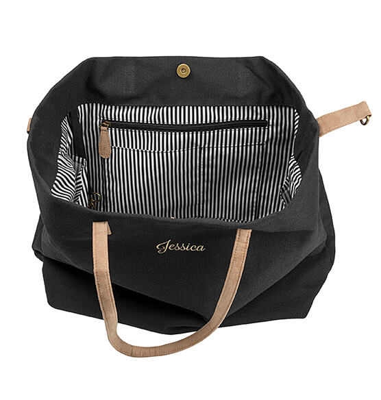 Personalized Black Overnight Tote - View 3