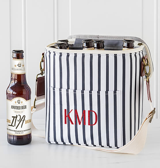 Personalized Striped Bottle Cooler - View 2