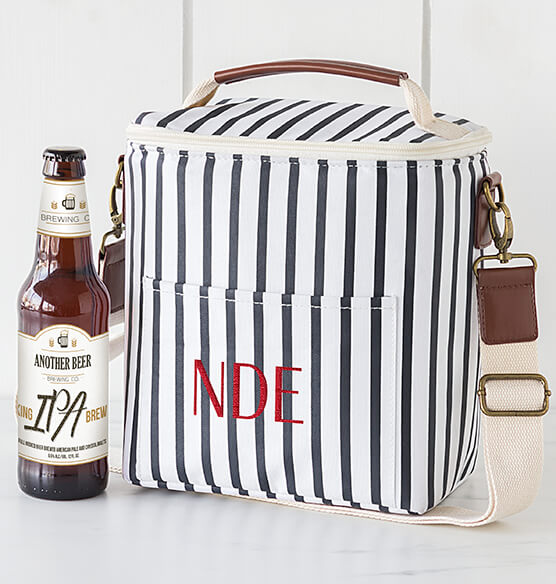Personalized Striped Bottle Cooler - View 4