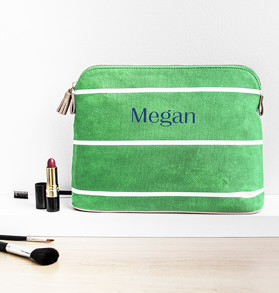 Personalized Striped Cosmetic Bag - View 2