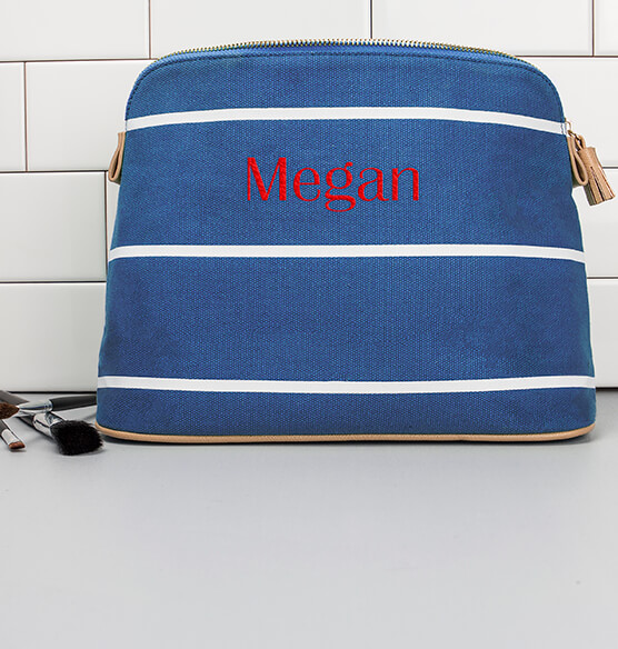 Personalized Striped Cosmetic Bag - View 3