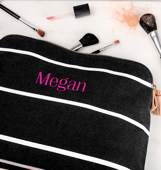 Personalized Striped Cosmetic Bag - View 4