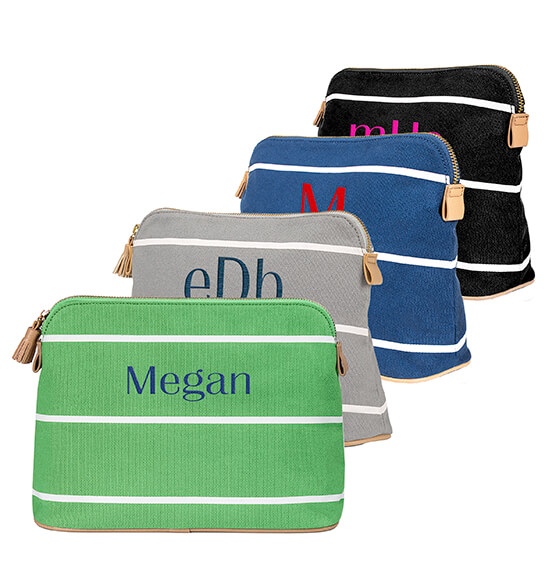 Personalized Striped Cosmetic Bag - View 5
