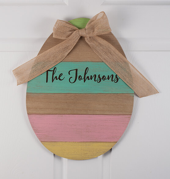 Personalized Wood Egg Sign with Burlap Bow - View 2