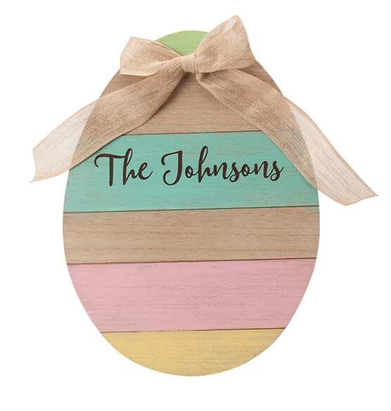 Personalized Wood Egg Sign with Burlap Bow - View 3