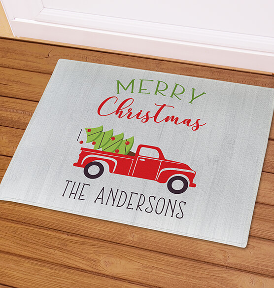 Personalized Red Truck Christmas Doormat - View 2