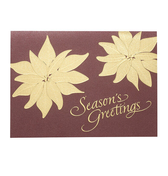 Gold Poinsettia Christmas Card, Set of 18 - View 2
