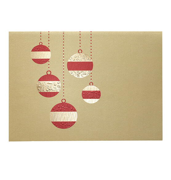 Golden Cascade Ornaments Christmas Card Set 18 - View 2