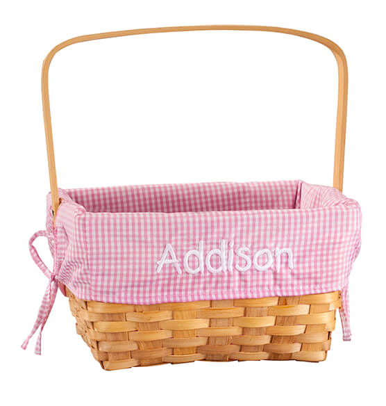 Personalized Pink Gingham Wicker Easter Basket - View 2