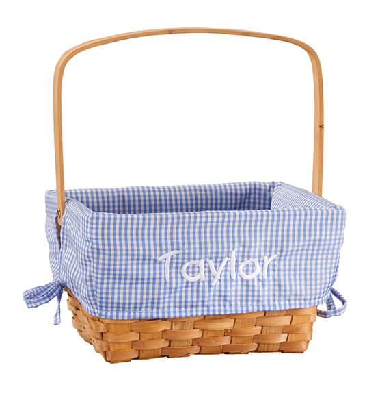 Personalized Blue Gingham Wicker Easter Basket - View 2