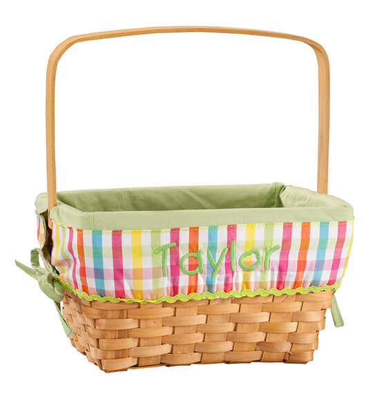 Personalized Plaid Wicker Easter Basket - View 2