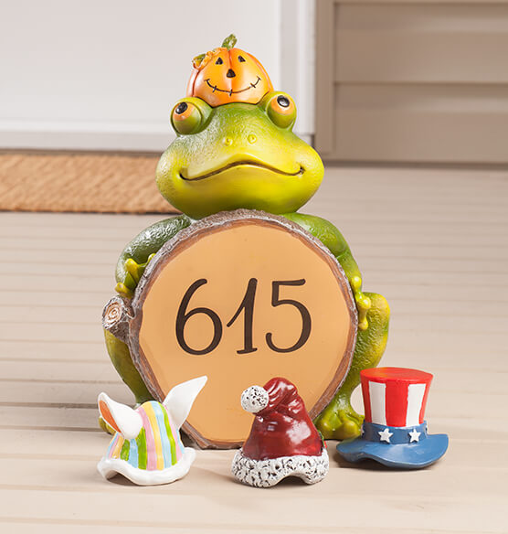 Personalized Frog with Seasonal Hats - View 2