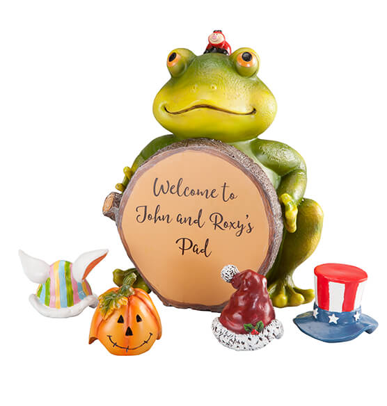Personalized Frog with Seasonal Hats - View 3