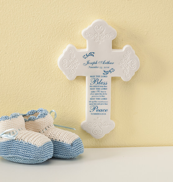 Personalized Bless This Child Ceramic Cross - View 2