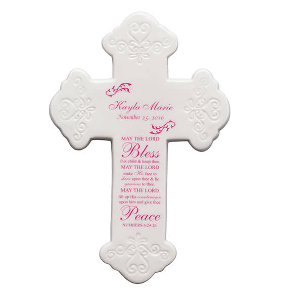 Personalized Bless This Child Ceramic Cross - View 3