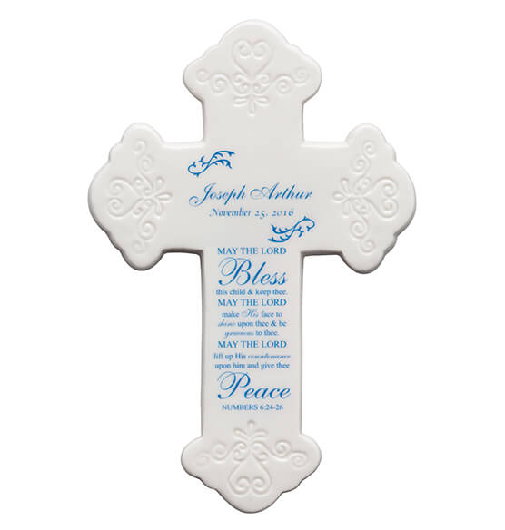 Personalized Bless This Child Ceramic Cross - View 4