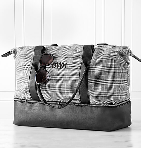 Personalized Canvas Tote with Leather Handles - View 2