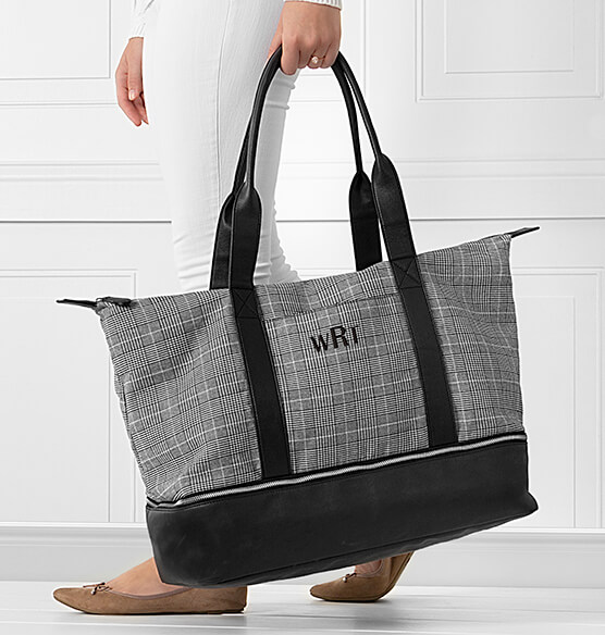 Personalized Canvas Tote with Leather Handles - View 3