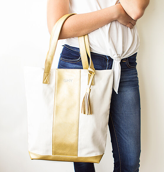 Personalized Gold Faux Leather Weekender Tote - View 2