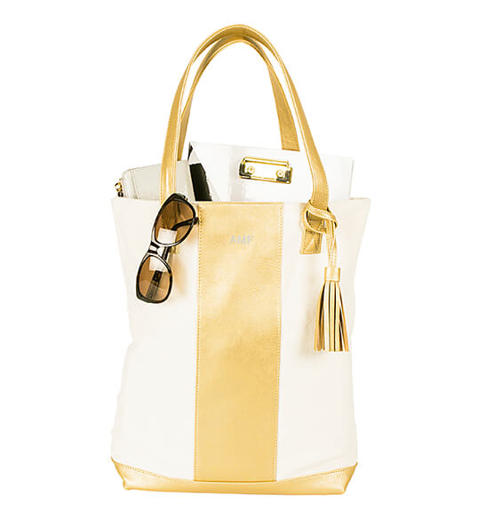Personalized Gold Faux Leather Weekender Tote - View 3