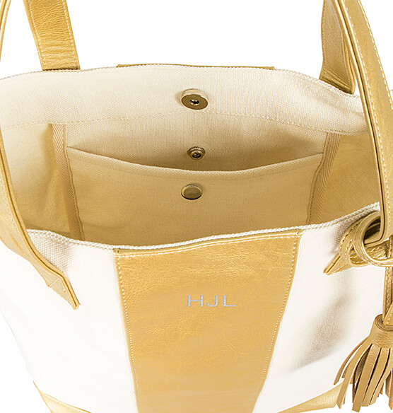 Personalized Gold Faux Leather Weekender Tote - View 5