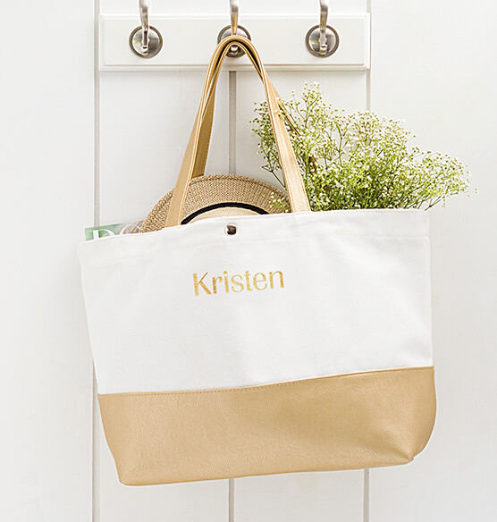 Personalized Gold Metallic Color Dipped Tote Bag - View 2