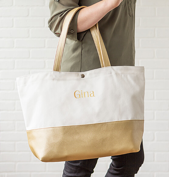 Personalized Gold Metallic Color Dipped Tote Bag - View 3