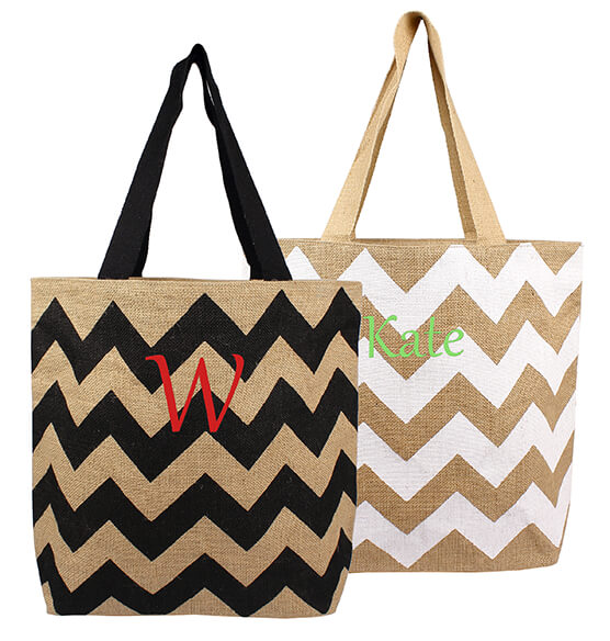 Personalized Chevron Natural Jute Tote Bag - View 3