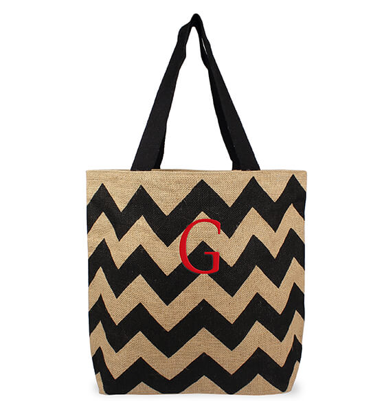 Personalized Chevron Natural Jute Tote Bag - View 4