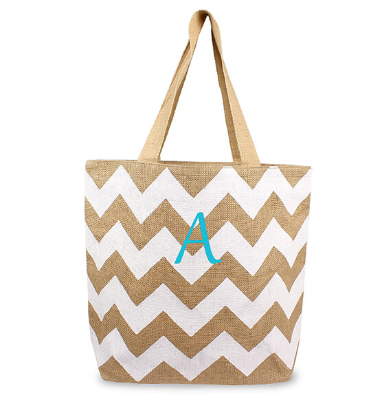 Personalized Chevron Natural Jute Tote Bag - View 5
