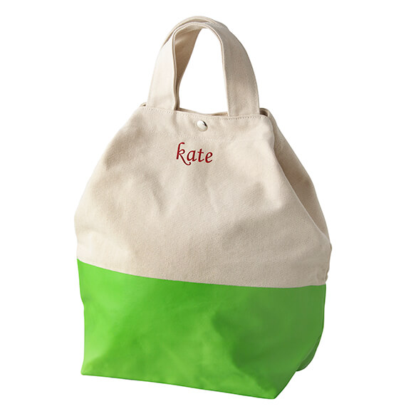 Personalized Kiwi Color Dipped Canvas Tote - View 2