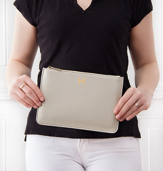 Personalized Embossed Vegan Leather Clutch - View 2
