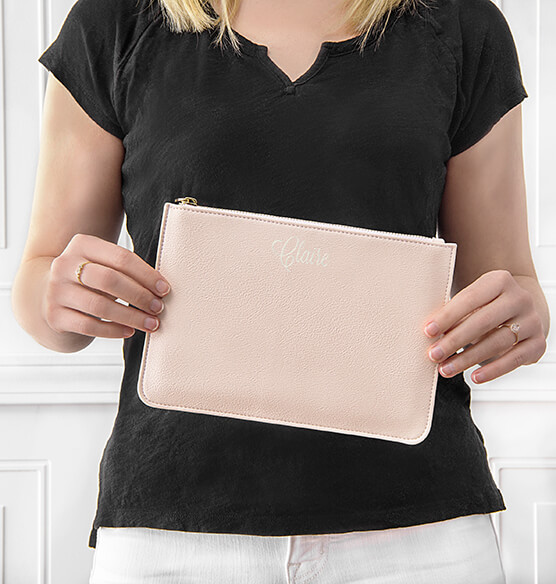 Personalized Embroidered Vegan Leather Clutch - View 2