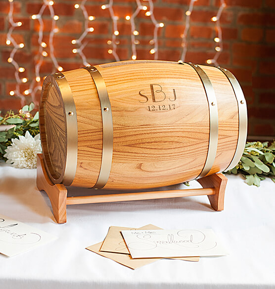 Personalized Wine Barrel Reception Gift Card Holder - View 3