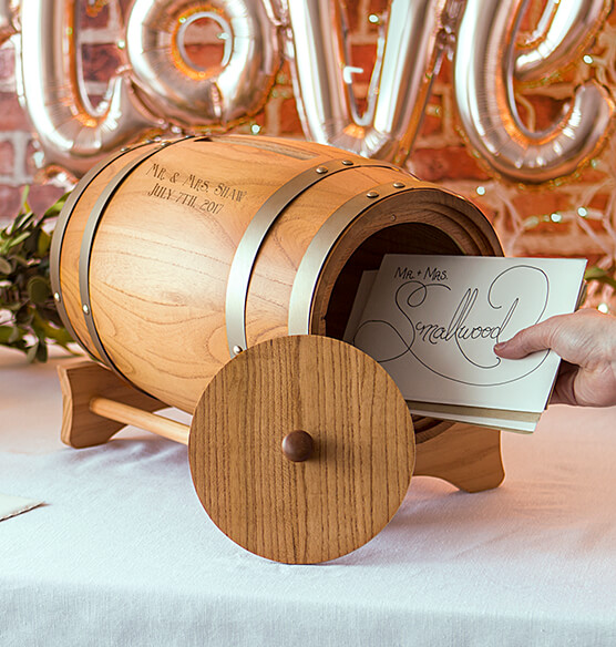 Personalized Wine Barrel Reception Gift Card Holder - View 4